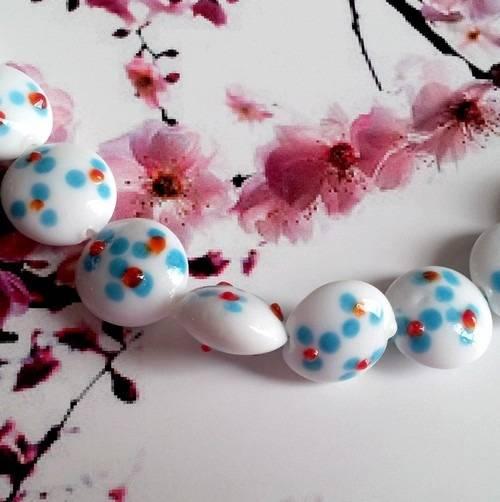 x10 palets lampwork fait main, blancs et bleus, diamètre 15mm