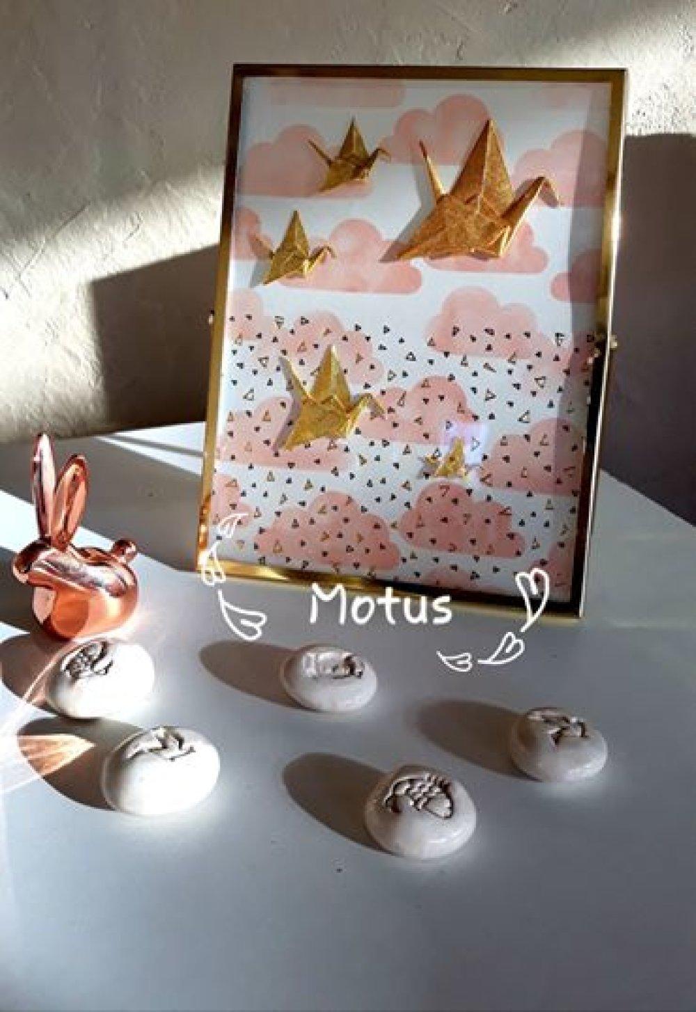 Cadre métal et verre grues origami