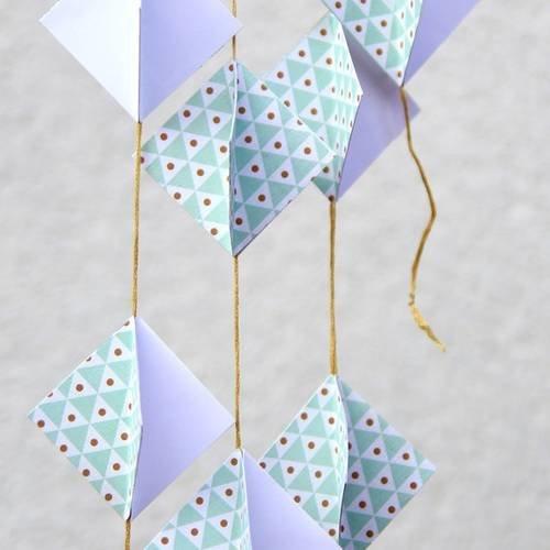Guirlande en papier - forme losange 3d - blanc, vert - décoration pour  noël, fête, mariage, chambre bébé enfant