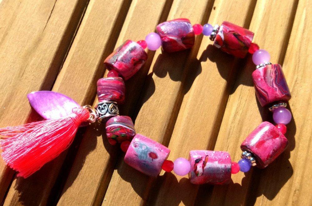 Bracelet de Perles en FImo et Verre, Nacre et Pompon