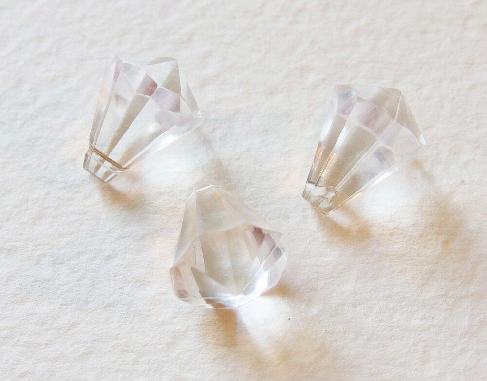 Lot de 3 Perles Pampilles Toupies Transparentes Blanc