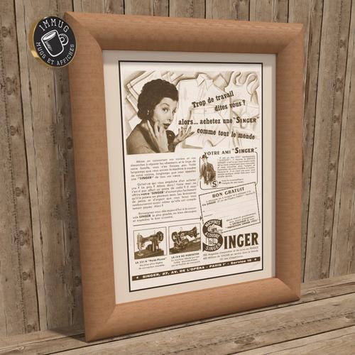 Affiche 30x40 - ancienne affiche pub 1953 machine à coudre singer couture - très beau cadeau