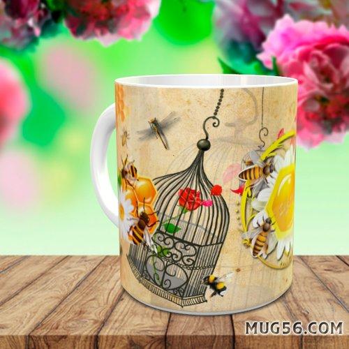 Design pour sublimation mug - abeilles 002 miel