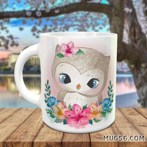 Design pour sublimation mug - chouette hibou 001