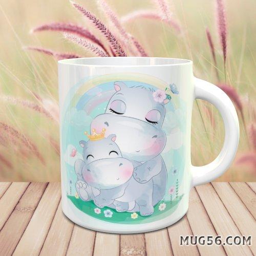 Design pour sublimation mug - hippopotame 001