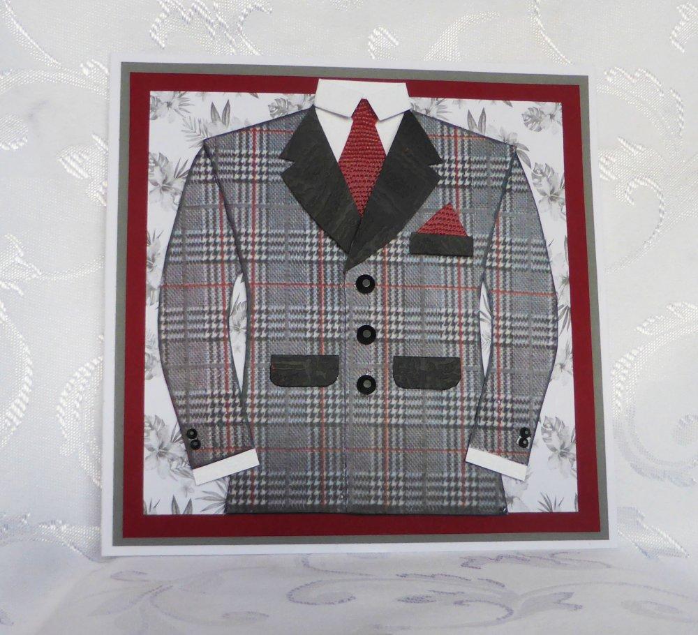carte fête des pères avec veste,chemise et cravate