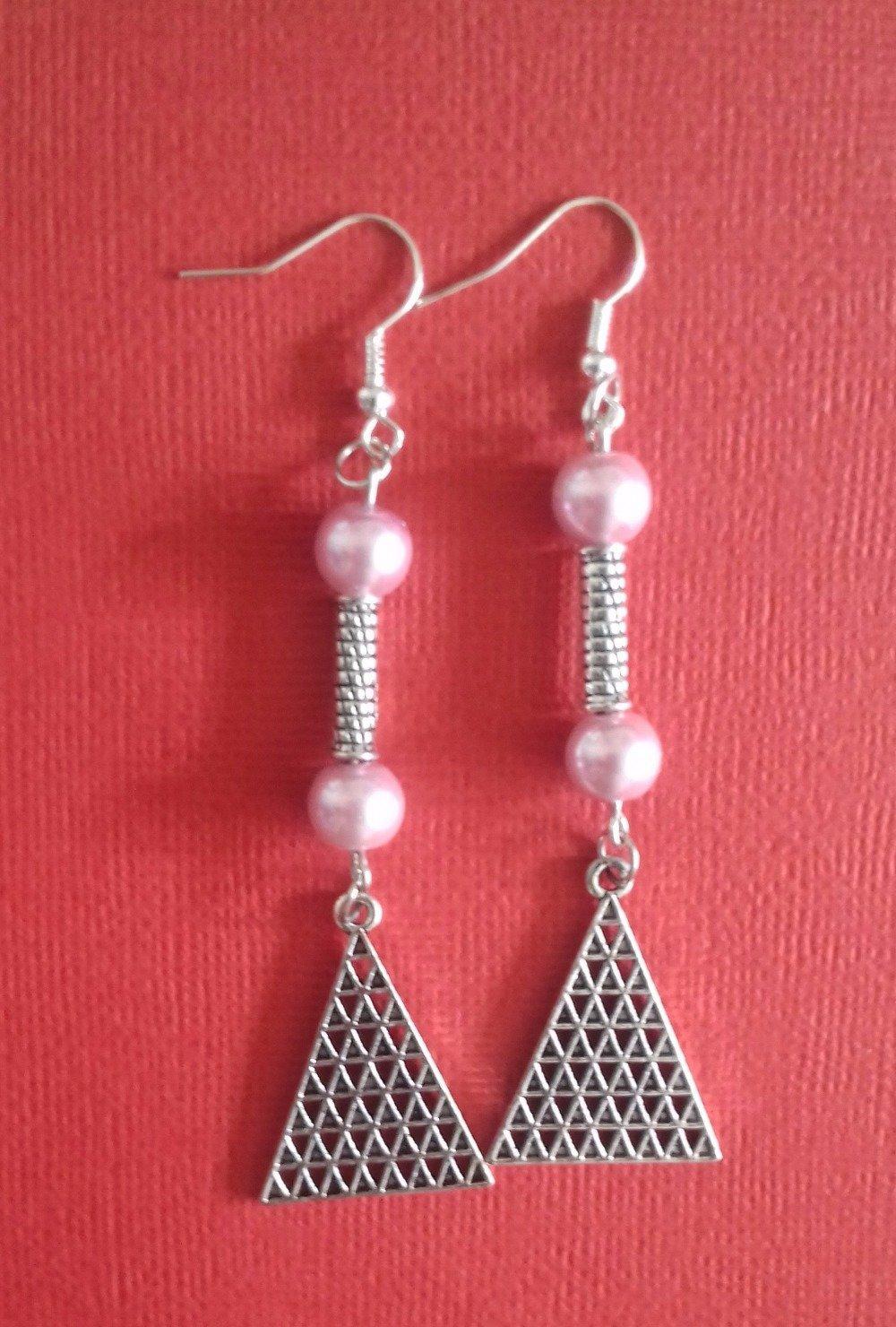Boucles d'oreilles argenté et perles