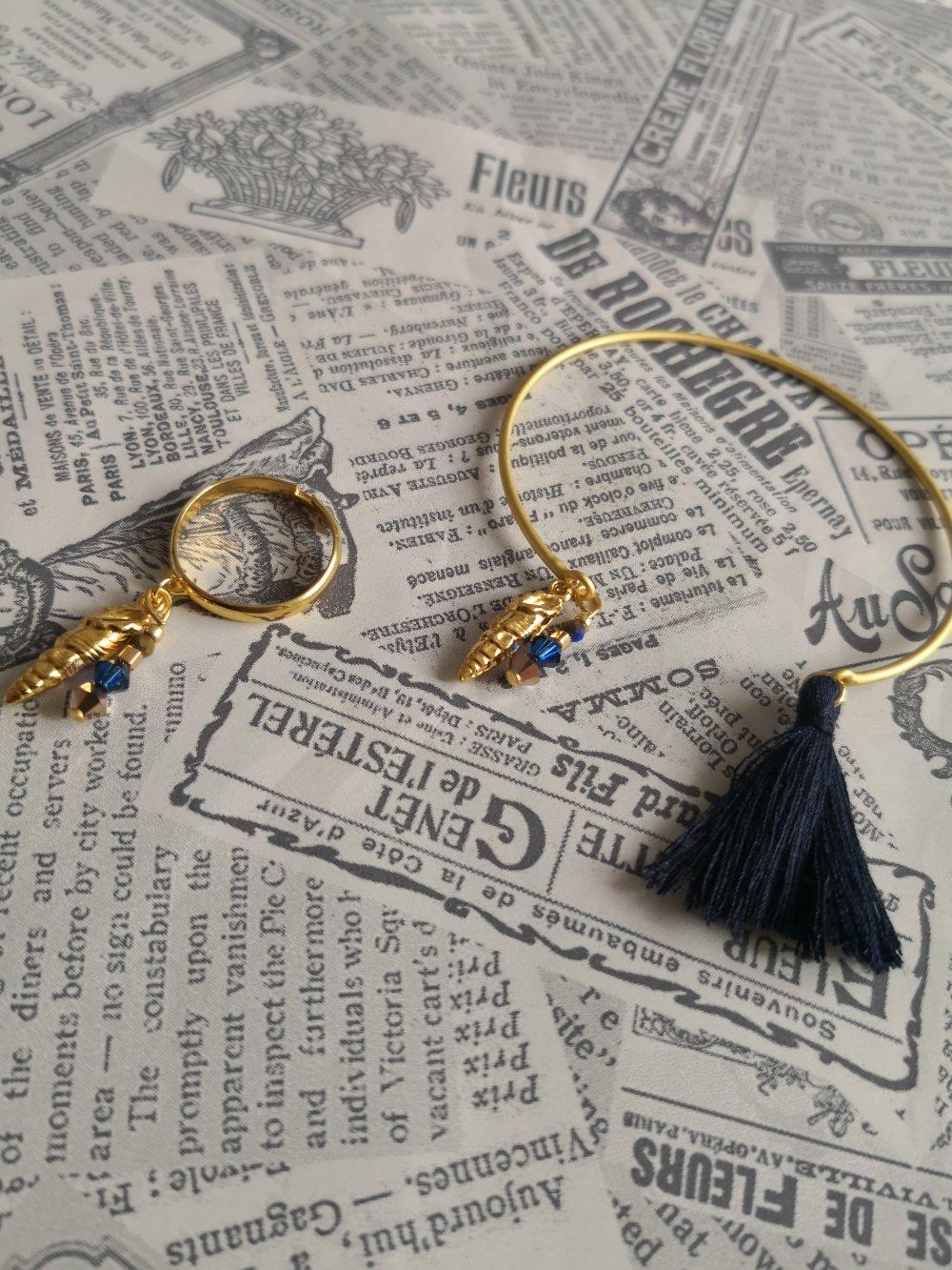 Bracelet jonc coquillage, miyuki, coton et cristal