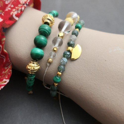 Bracelet réglable en malachite et métal doré à l'or fin
