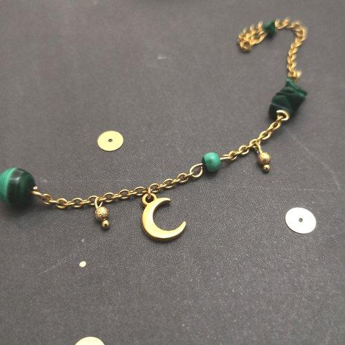 Bracelet croissant de lune en malachite, acier et métal doré à l'or fin
