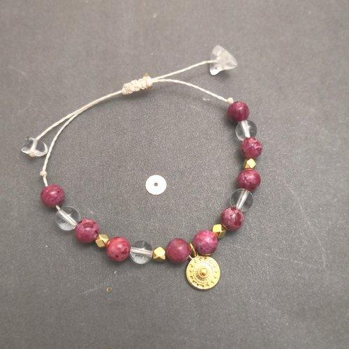 Bracelet bohème à breloque en rhodonite, cristal de roche monté sur un fil ciré réglable, bracelet de lithothérapie