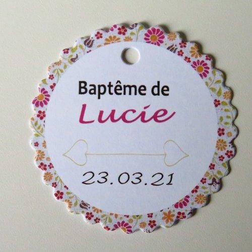 """10 étiquettes non-autocollantes """"pour baptême"""" liberty"""