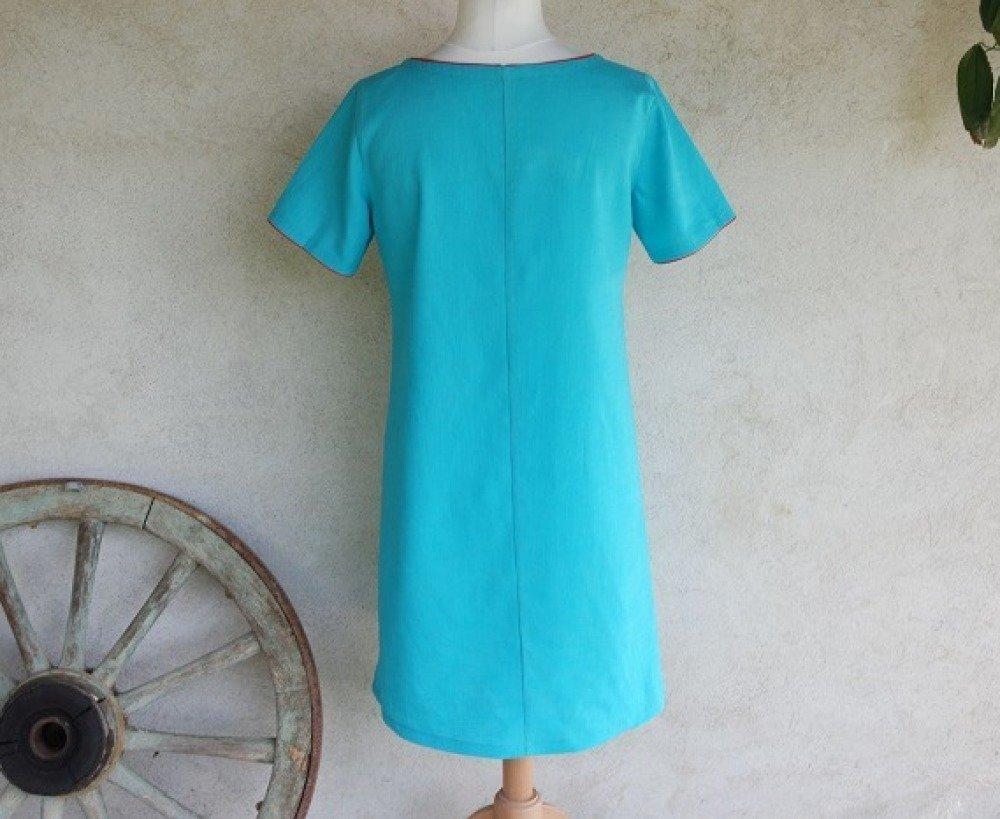 Robe trapèze ample en lin bleu turquoise à manches courtes
