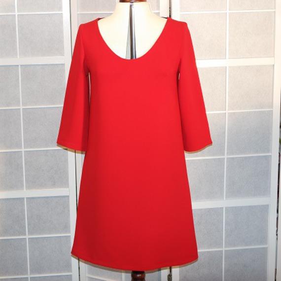 Robe Trapeze Rouge En Crepe De Polyester Rouge A Manches 3 4 Un Grand Marche
