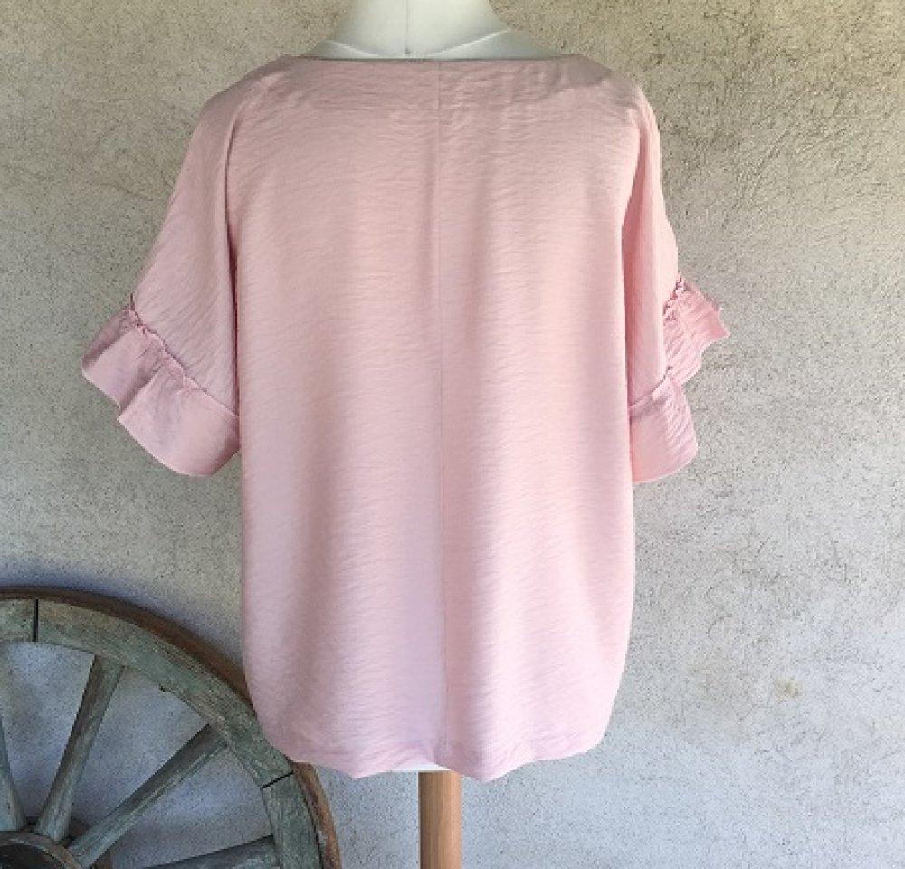 Tunique ample manches kimono à volants en tissu viscose rose