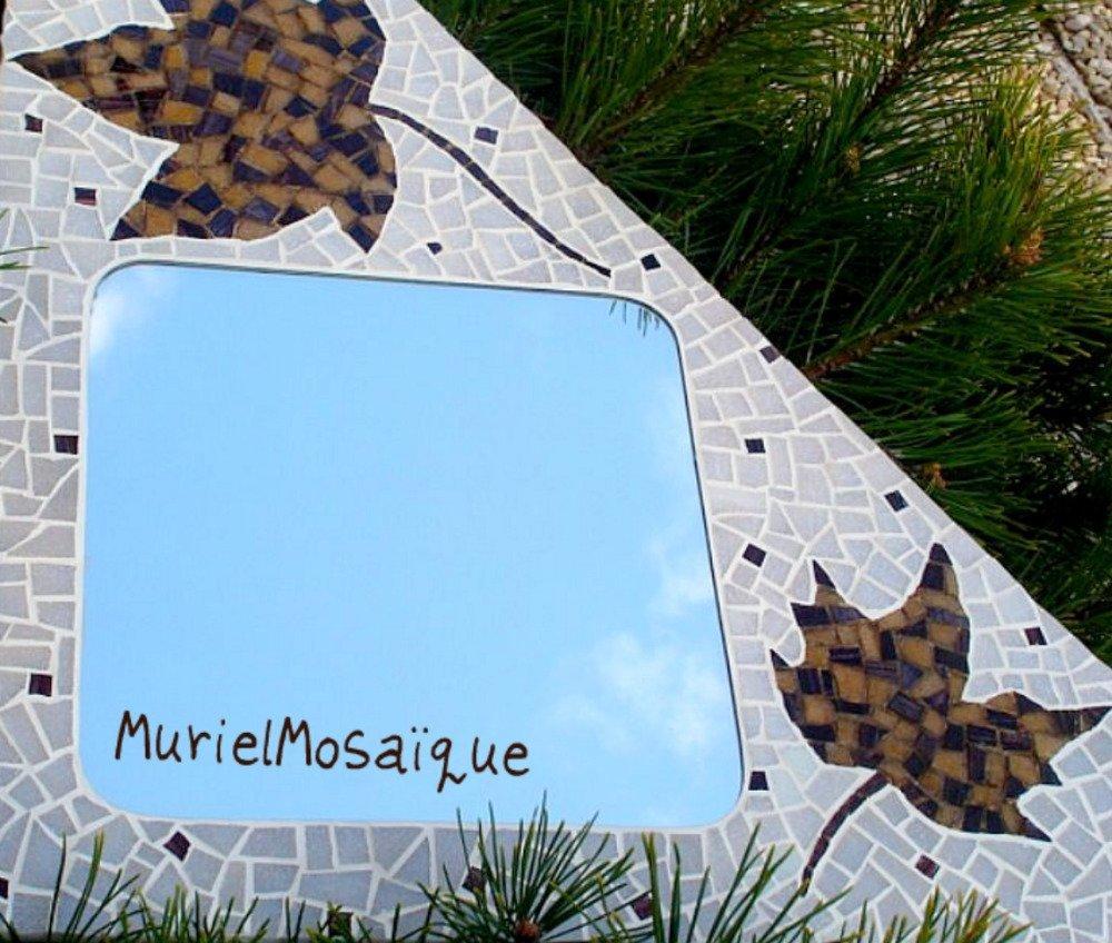 Miroir 'Feuilles d'érable' en mosaïque pâtes de verre blanc