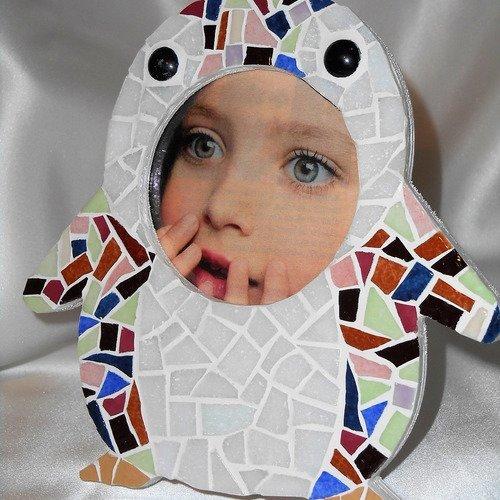 """Cadre photo enfant """"pingouin"""" en mosaïque"""