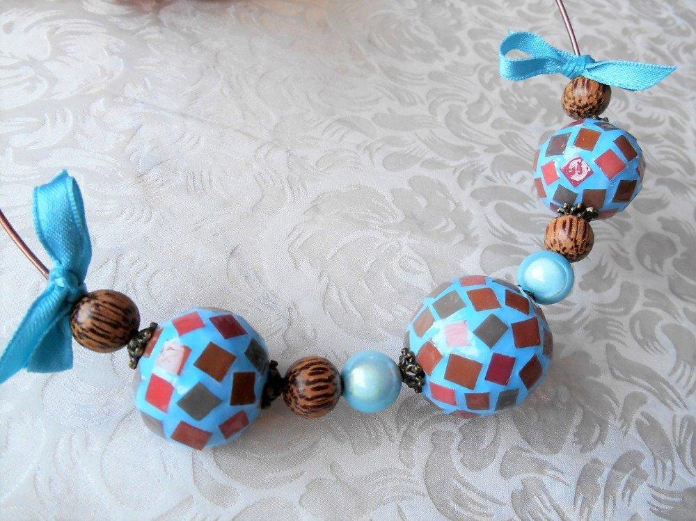 Collier torque fantaisie en mosaïque bleu et marron