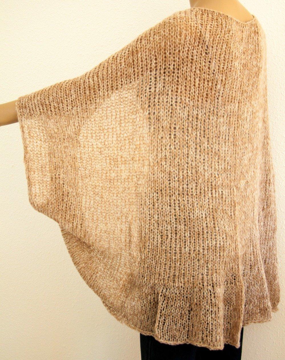 Vendu! cardigan shrug boho chic tricot à la main grosses mailles oversize kid mohair colorant mélange biege marron clair
