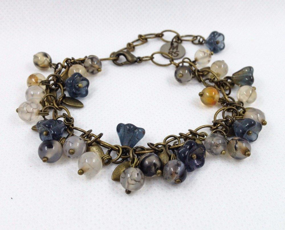 VENDU! Bracelet Boho chic entièrement fait main Pierres semi-précieuses agate Tchèque verre Bronze