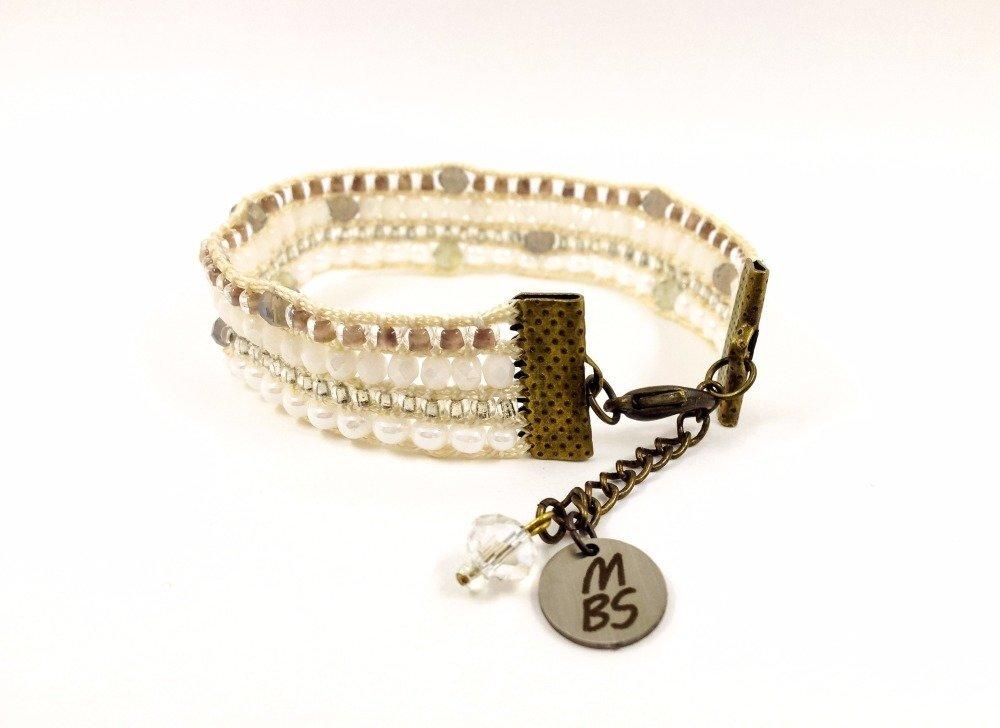 Bracelet de créateur Boho chic Ttressé avec des rocailles et cristaux ronde facettée Blanc