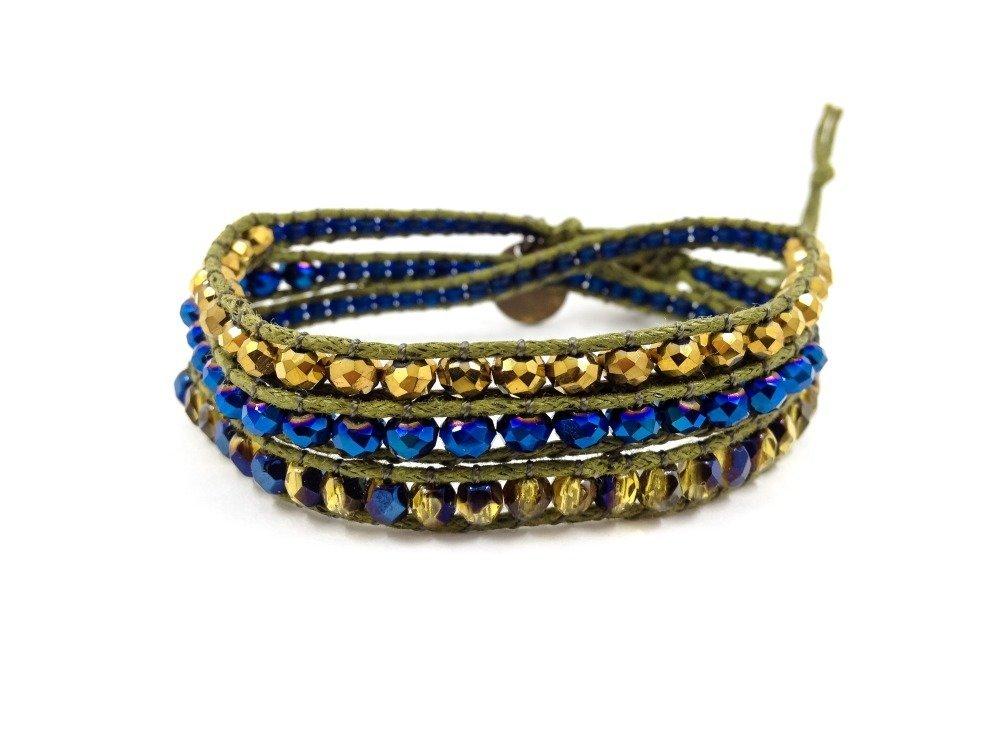 Bracelet de créateur Wrap 3 tours Boho Hippie tressé avec des cristaux et verre ronde facettée
