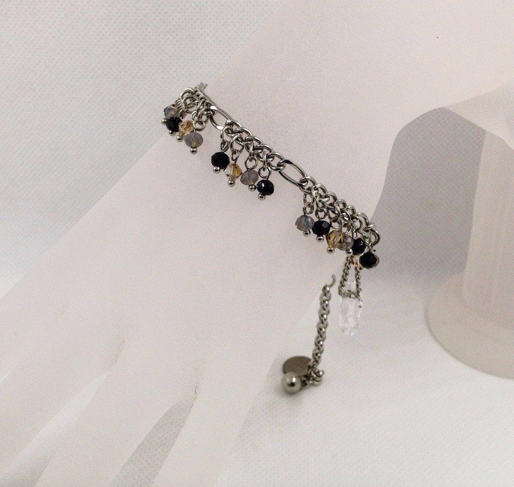 Bracelet de créateur Boho chic Cristaux ronde facettée et Cristal Swarovski Chaîne rhodium