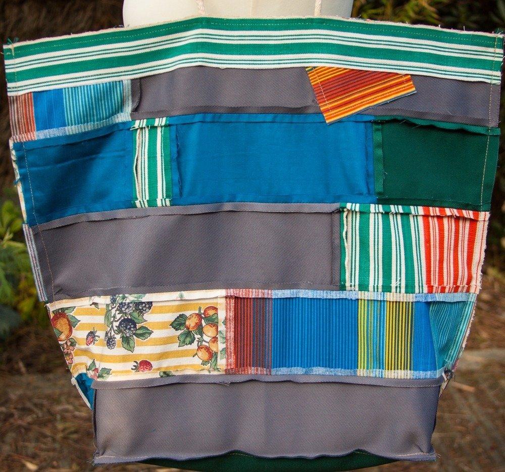 VENDU! Sac cabas de créateur Boho Hippie Ethno Vagabonde Tissu coton Patchwork multicolore Applique étoile