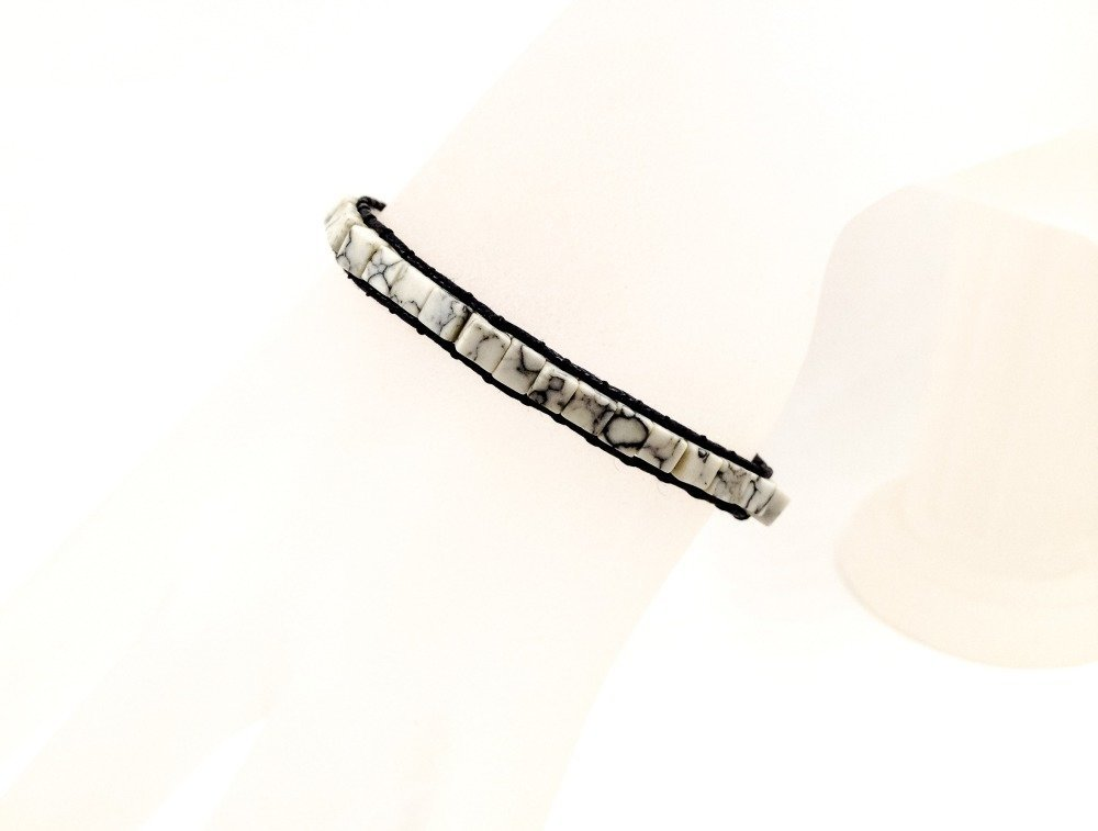 Bracelet de créateur unisexe Boho Hippie tressé avec des Pierres semi-précieuses howlite cubes