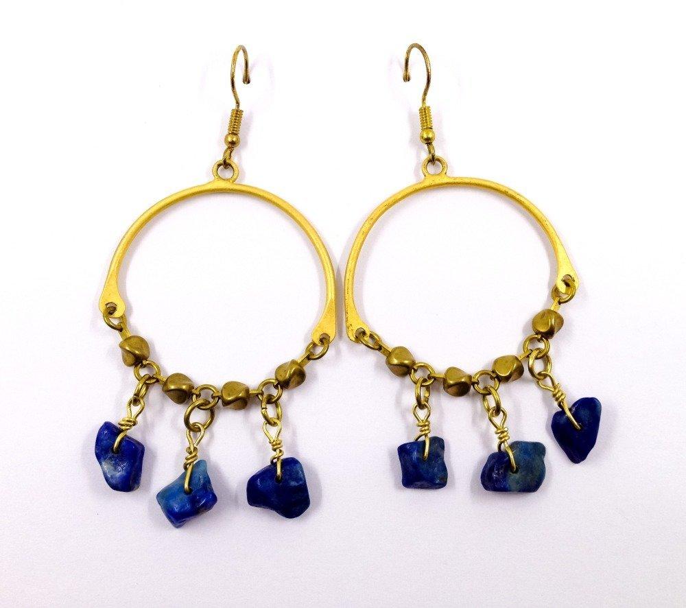 Boucles d'oreilles de créateur Boho Hippie Ethno Pierres semi-précieuses lapis lazuli Métal doré rustique  Bronze