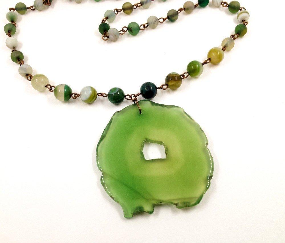 Collier Pendentif de créateur Boho Ethno Pierres semi-précieuses agate vert Cuivre