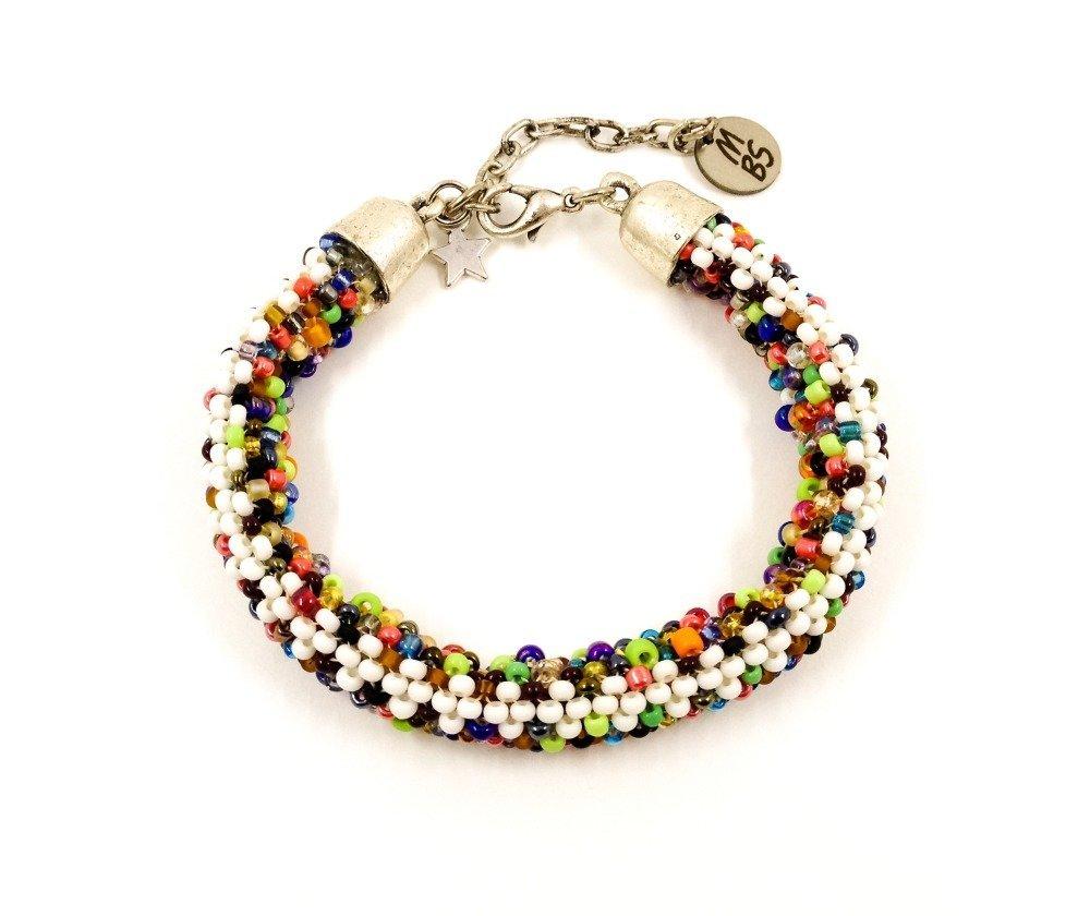 Bracelet de créateur Boho Hippie Ethno Tressé avec des rocailles multicolore blanc