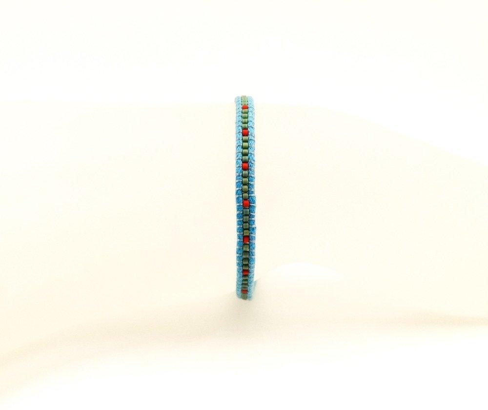 VENDU! Bracelet fin de créateur Boho Hippie unisexe Tressé avec des rocailles japonaises MIyuki vert rouge Cordon turquoise