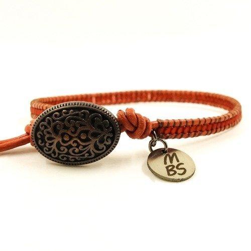 Bracelet fin de créateur boho hippie unisexe tressé avec des rocailles japonaises miyuki bordeaux cuir couleur terre cuite cuivre