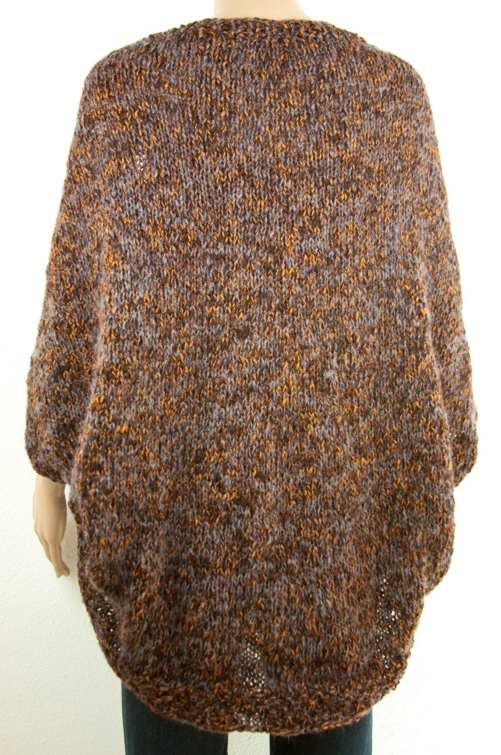 Cardigan SHRUG Boho chic Oversize Tricot à la main Laine Mohair Colorant mélange multicolore marron gris rouille