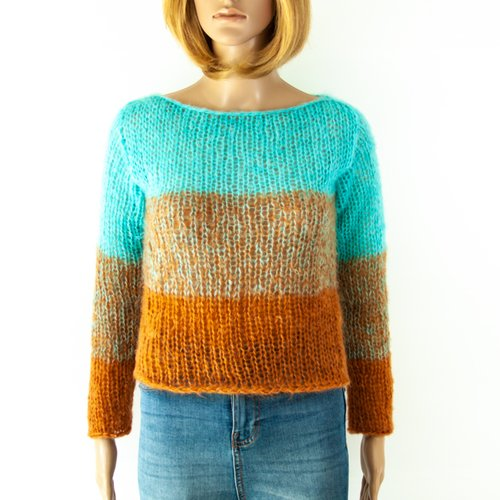 Pull court baby alpaga laine mérinos tricot à la main ombre boho chic hippie rayé colorant mélange turquoise camel multicolore
