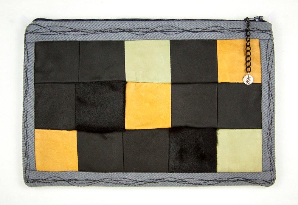 Pochette de créateur Boho Patchwork Cuir Fourrure noir gris camel