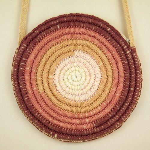 Vendu! petit sac rond bandoulière de créateur boho hippie shabby chic crochetée laine coton dégradé de couleur lilas rose ivoire