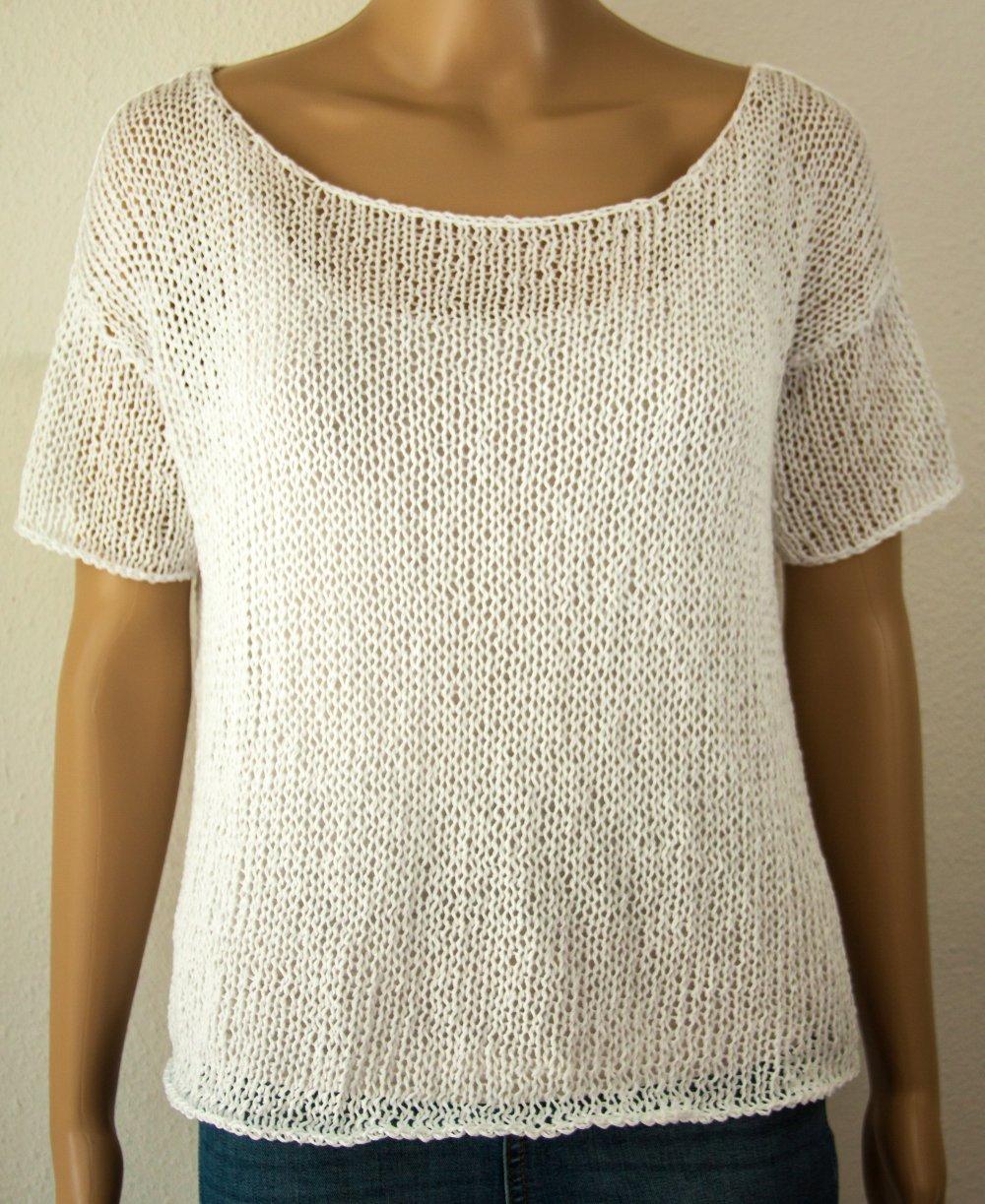 Pull à manches courtes T-shirt Boho Hipster Minimalist Tricot à la main Grosses mailles Léjères Aéré Lin Coton Blanc