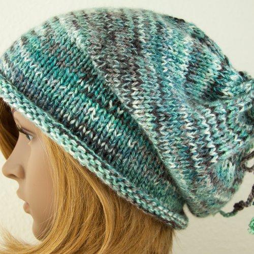 Vendu! bonnet echarpe snood unisexe boho oversize long mohair laine tricot à la main grosses mailles colorant mélange turquoise gris blan