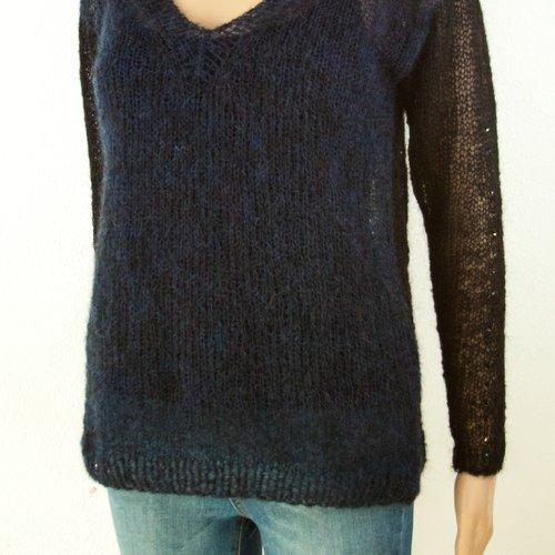 Vendu! pull mohair boho chic romantique tricot aéré à la main avec cristaux facettée tissées léjères kid mohair noir bleu ma