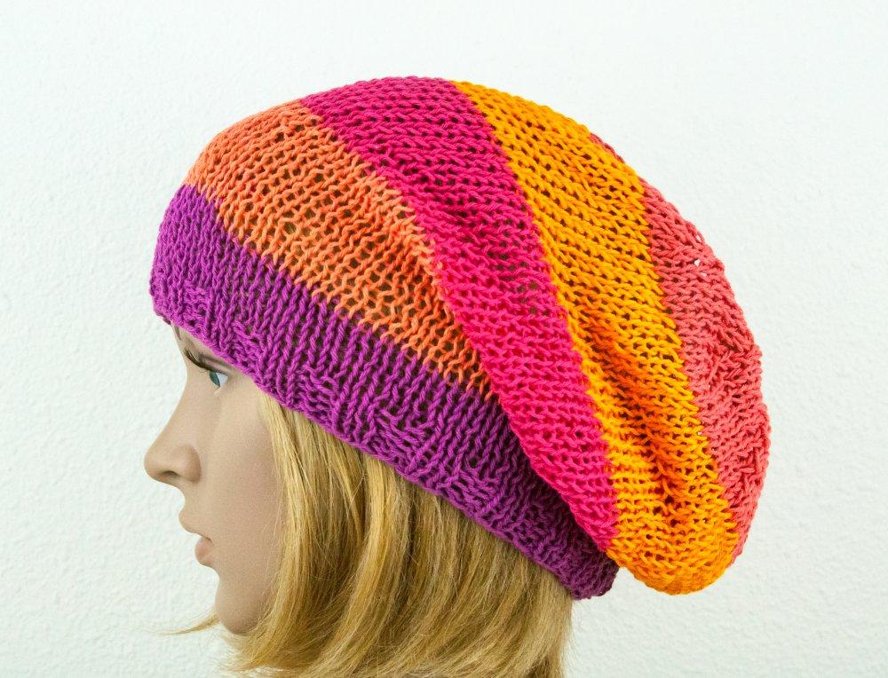 VENDU! Bonnet d'été Coton Tricot à la main Boho chic Hippie Oversize Long Rayé Couleurs vives Corail Fuchsia Jaune