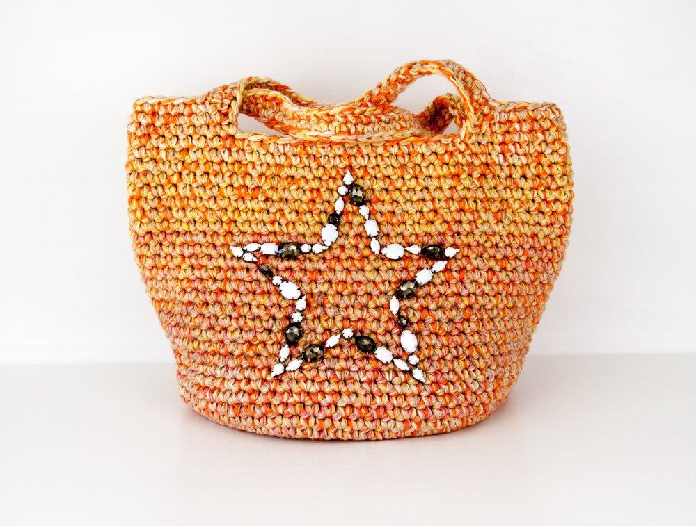 Sac cabas de créateur Crochetée Laine Coton Boho Hippie Broderie de Cristaux serti étoile Colorant mélange Saumon Beige