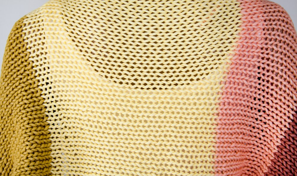 Cardigan Shrug Coton Tricot à la main Grosses mailles Aéré Oversize Rayé Boho Hippie Aéré Jaune Moutarde Rose