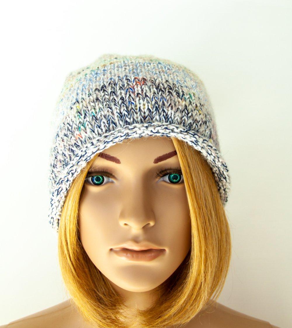 VENDU! Bonnet laine mérinos Kid mohair Coton tricot à la main boho hippie hipster unisexe long oversize colorant mélange