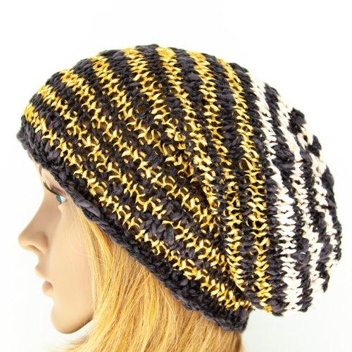Bonnet coton tricot à la main rayé boho hippie hipster unisexe long oversize gris jaune doré rose