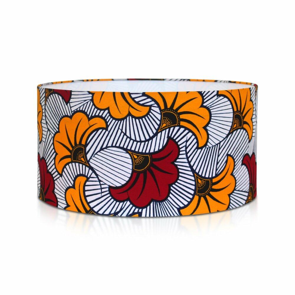 Abat-jour cylindrique fait main rouge en tissu wax africain à motif fleuri, suspension luminaire