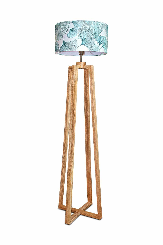 Abat-jour cylindrique fait main en papier peint motif feuille gingko, suspension luminaire pour chambre ou séjour