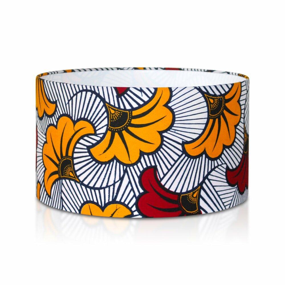 Lampe de table en tissu imprimé wax, lampe de chevet ou de bureau avec trépied bois, abat-jour fait main aux motifs fleuris et africains
