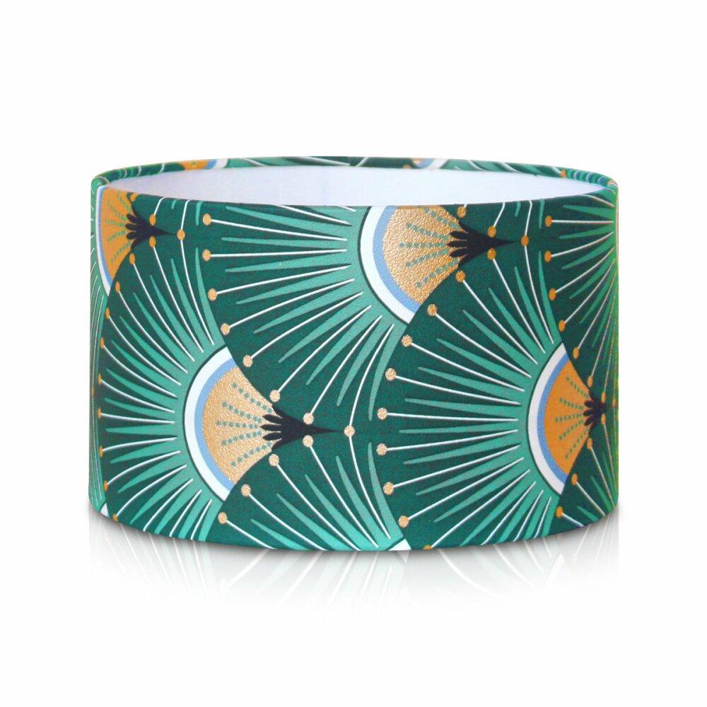 Lampe de chevet ou à poser en tissu scandinave à motif japonais, lampe de table enfant ou de bureau, abat-jour fait main imprimé vert